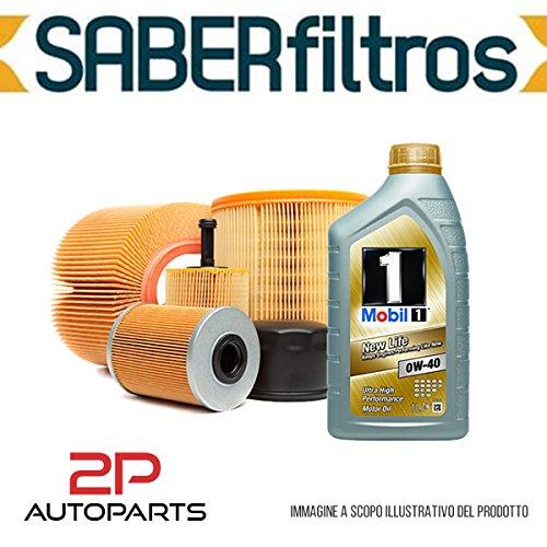 Kit tagliando auto, kit quattro filtri e 3 litri olio motore Mobil 0W40 (KF0018/fo)