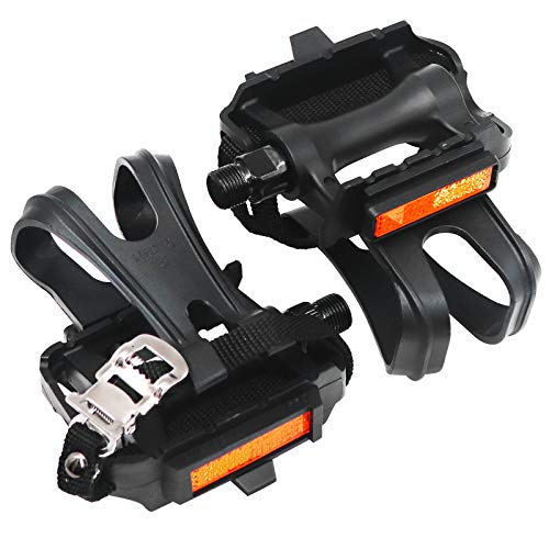 Shaboo Prints Bike Pedals with Clips and Straps, Non-Slip Bicycle Pedals, 9/16-Inch Spindle Resin Alloy Bicycle Multi-Purpose Pedals for Mountain Bike, Exercise Bike, Spin Bike and Outdoor Bicycles