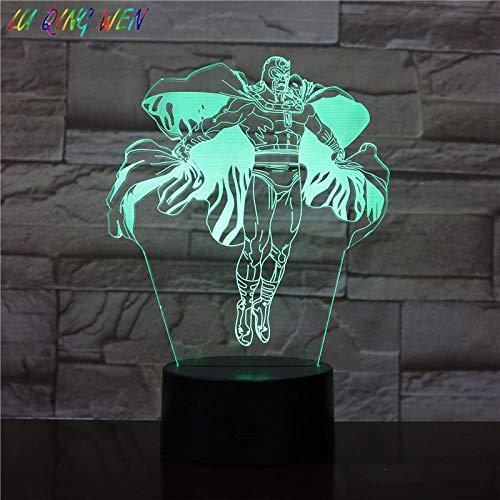 Lampe d'illusion 3D Led Veilleuse Enfants Magneto Marvel Comics The Avengers Superhero Kid Boy Birthday Gift Table Lamp Magneto