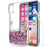 LeYi Coque iPhone XS/iPhone X Etui avec Film de Protection écran, Fille Personnalisé Liquide...