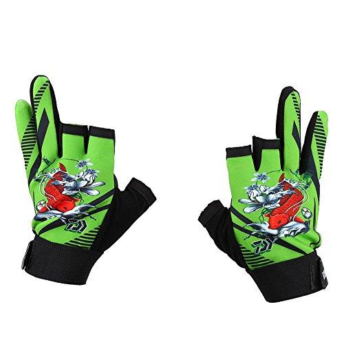 Angelhandschuhe, rutschfeste Handschuhe DREI Finger Geschnittenes Design Outdoor Angelausrüstung(Grün)