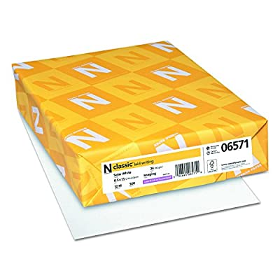 Neenah Classic Laid Writing Paper, Letter 8.5 x 11 Inches, 24 lb., Solar White 97 Brightness, 500 Sheets (06571)