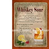 Whiskey Sour - Receta de cóctel - Retro - Estilo Metal Sign - 3 tamaños para Elegir - Bar-Cafe-Pub-Bistro-Home Bar, 12' x 8' 300 x 200 mm