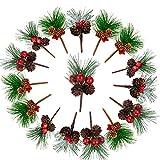 JPYH 16 Pezzi Ramo di Pino Artificiale Natalizio Deco con Bacche Rosse -per Ghirlande di Composizioni Floreali di Natale e Decorazioni Natalizie