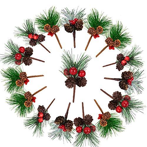 JPYH 16 Piezas Rama de Pino Artificial, Deco de Navidad con Rama de Pino Artificial con Frutos Rojos,Ramas Decorativas y Flores para Guirnalda de Navidad Hazlo tu Mismo, Decoraciones de Navidad