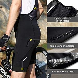 Santic Culote Bicicleta Hombre Culotte Ciclismo Hombre Culote MTB Pantalones Cortos Ciclismo Hombre con Tirante Negro EU S