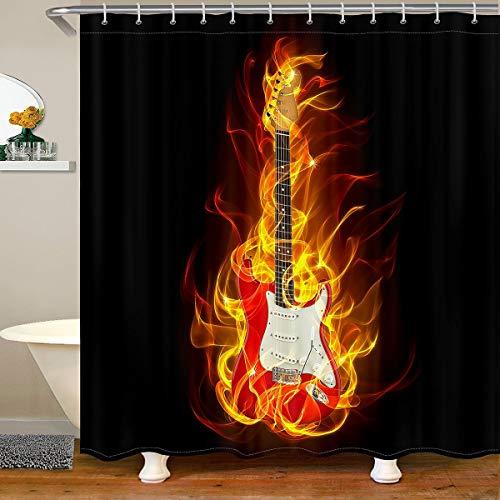 Loussiesd Cortina de baño con temática musical para guitarra, cortina de ducha con temática de música de roca, juego de cortinas de ducha para niños, 180 x 200 cm