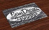 ABAKUHAUS San Diego Salvamantel Set de 4 Unidades, Gris del Grunge de la Resaca de la Vendimia, Material Lavable Estampado Decoración de Mesa Cocina, Gris carbón Gris pálido