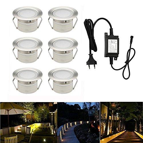 Foco empotrable LED, lámpara de pie Foco empotrable de acero inoxidable IP67 impermeable 1W Ø45mm para patio, patio, pared, jardín, decoración, interior y exterior (blanco cálido, 6 piezas)