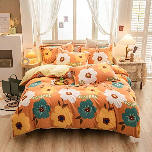 Bedding-LZ duvet cover double-Autumn and winter thickened double-sided crystal velvet three or four-piece bed sheet quilt cover pillowcase J_1.8m bed (4 pieces)