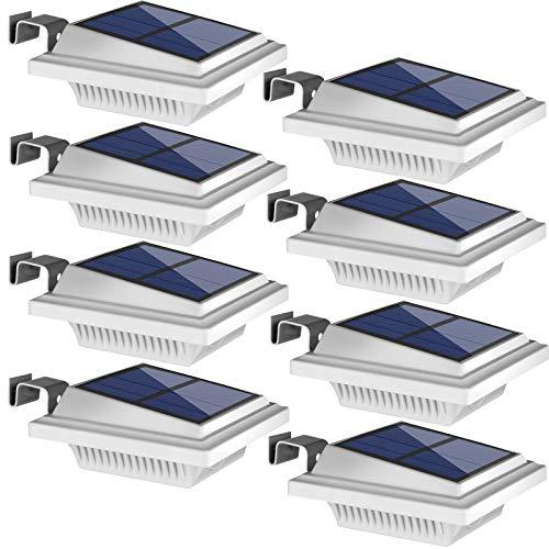 Uniquefire Weiße Solarlampe 12 LEDs Dachrinnen Außenlampe Leuchte Wandlampe Solar Warmweiße Licht für Garten, Terrasse, Fahrtweg, Höfe, Traufen (8 STK.)