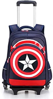 GLJJQMY Backpack High Men and Women School Bag Computer Bag Detachable Large Capacity Trolley Bag Trolley Backpack (Color : Navy, Size : 43x13x34cm)