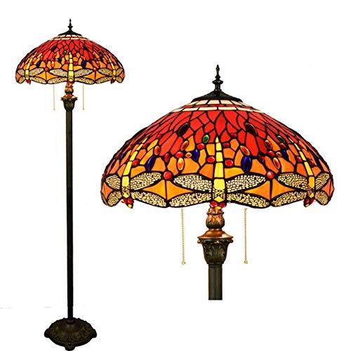 Lámpara de pie de lectura estilo Tiffany con libélula roja grande de 18' para sala de estar, lámpara de pie hecha a mano con vitrales, poste de luz de 64' de alto, 2 E27