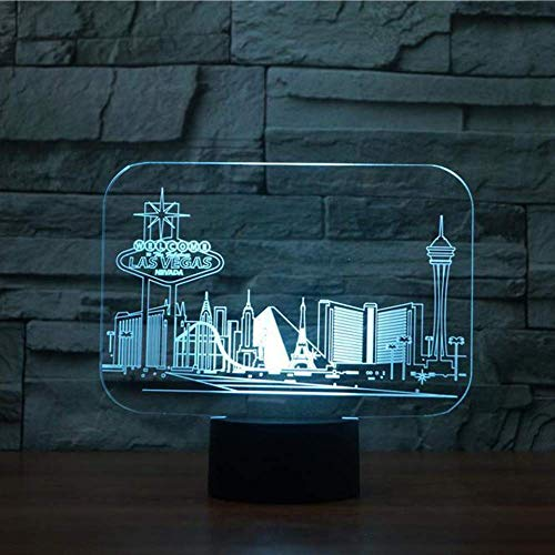 3D Night Lamp Safety First, 7 Couleurs Changeantes Las Vegas Building Table Atmosphere Sleep Lighting Usb Light Lamps Toys Night Lights Kids Home Baby Illusion Decor Bedside Birthday Lamp Gifts Light