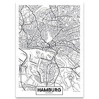 アートポスター ブラックホワイトドイツフランクフルトハンブルクワールドマップキャンバス絵画ポスターとプリント壁の写真のための壁の写真家の装飾 (Color : 02, Size : 50x70cm No Frame)