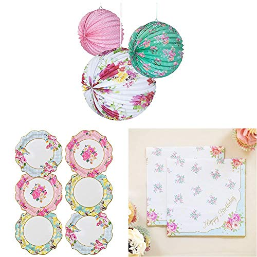 Talking Tables Truly Scrumptious Afternoon Tea Party Hanging Decorations, Paper Plates, Happy Birthday Napkins