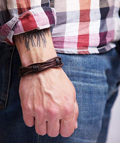 Mens Leather Bracelet Braided Brown Rustic Gift For Dad Fathers Day...