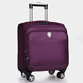 A-Lncie Trolley Box Square Trolley Case Universal Wheel Boarding Travel Extended Layer with Cup Holder Suitcase (Color : Purple)