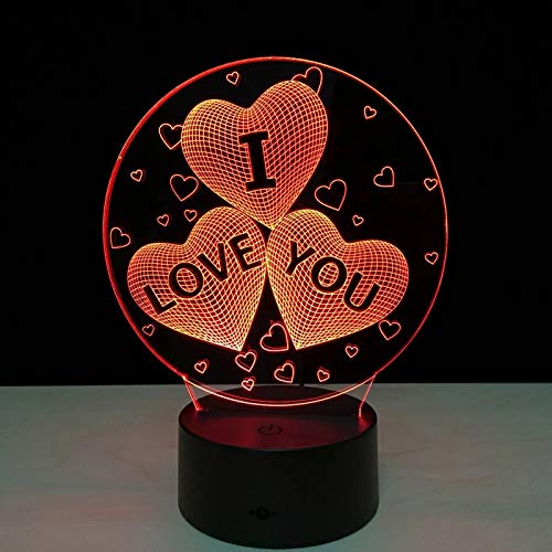 Creative Fun Valentine's Day I Love You 3D Light Touch Acrylic Visual Light LED 7 Color Table Lamp USB Dual