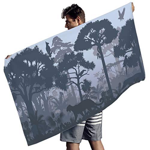 Shire Terry Toalla de playa Rainforest Animal Reversible Altamente Absorbente Extra Grande Elegante Toalla de Piscina para Exterior Acitividad y Hogar Baño Blanco 150x75cm