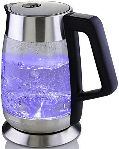 Ovente Electric Hot Glass Kettle 1.8 Liter with 5 Settings and LED Lights, 1100 Watts, Fast Heating and Keep Warm Function, Perfect for Coffee, Tea, or Boiling Water, Silver KG66S