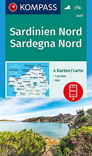 KOMPASS Wanderkarte Sardinien Nord, Sardegna Nord: 4 Wanderkarten 1:50000 im Set inklusive Karte zur offline Verwendung in der KOMPASS-App. Fahrradfahren. (KOMPASS-Wanderkarten, Band 2497)