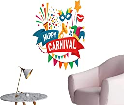 SeptSonne Wall Art Prints Carnival Festive Concept Musical Trumpet mask Lips Jester hat Bunt for Living Room Ready to Stick on Wall,16