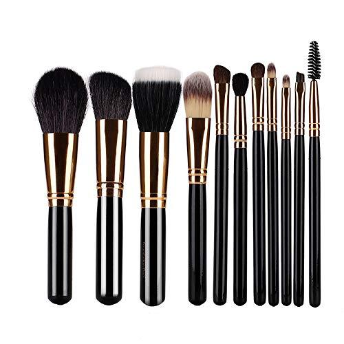 CLIONE Makeup Brushes 11 Pcs Black Make Up Brush Sets Best Professional Makeup Brushes Foundation Face Powder Blush Eyeshadow Brushes Makeup Brush Kit with Makeup Brush Bag (Black)
