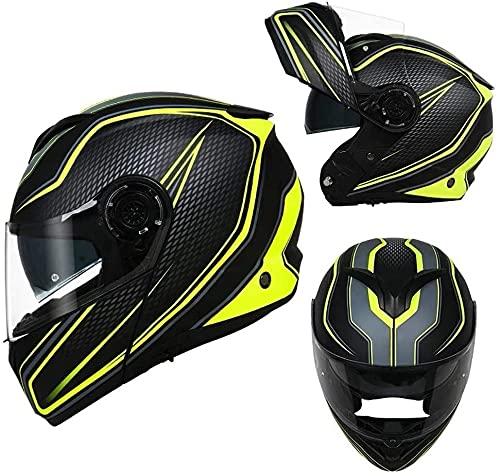 LLDKA Casco Plegable, Casco Modular, máscara Anti-Niebla con Dos Lentes, Compatible con Auriculares Bluetooth Casco de Carreras Plegable (Color : F, Size : M)