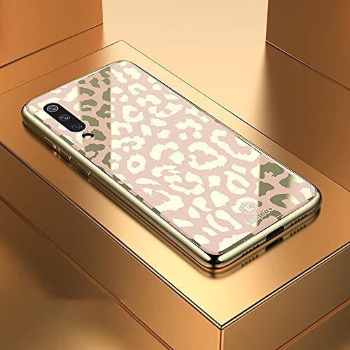 Telefoonhoesje voor Xiaomi Mi 9 Luipaard Patroon Electroplating Soft Frame Plexiglass Spiegel Beschermhoes merk: TONWIN (Kleur : Champagne Gold)