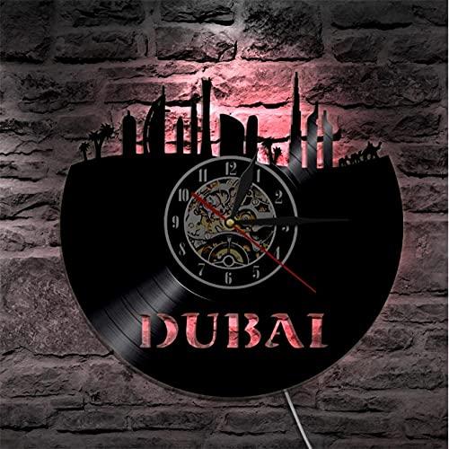 LTMJWTX Emiratos Árabes Unidos Ciudad Dubai Skyline Reloj de Pared con Disco de Vinilo Paisaje Urbano Decoración de Pared Reloj Colgante Regalo de los Emiratos Árabes Unidos para el Viajero