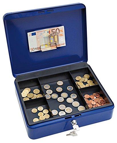 Wedo 145403H kasetka na pieniądze (ze stali malowanej proszkowo, chowany uchwyt, klamra na banknoty i paragony, 5-przegródkowa wkładka na monety, zamek cylindryczny, 30 x 24 x 9 cm) niebieska