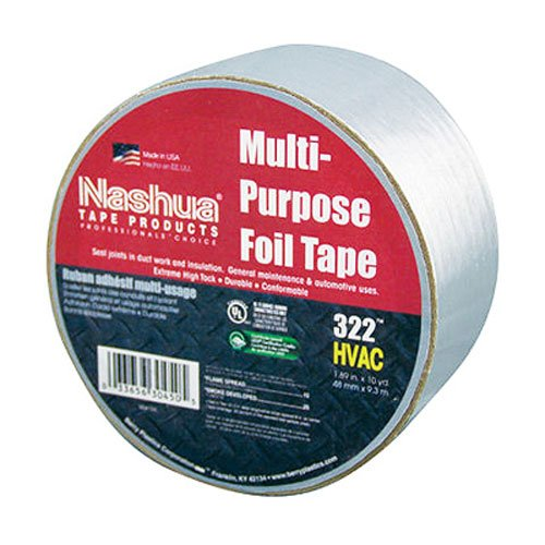 Nashua 322 Multipurpose Foil Tape, 3.2 mil Thick, 9 m Length, 48 mm Width, Aluminum