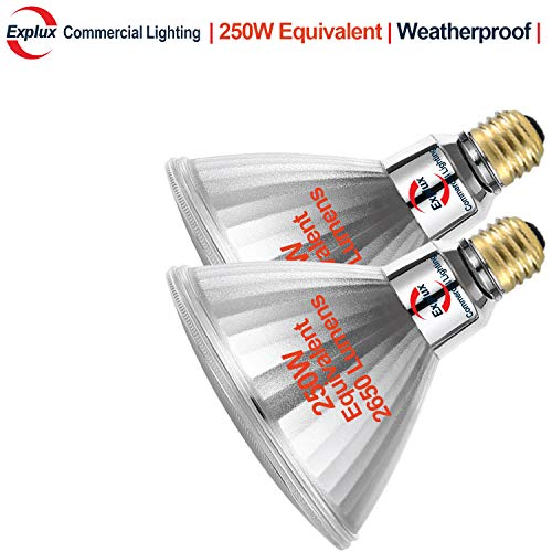 Explux 250W Equivalent PAR38 LED Flood Light Bulbs, Weatherproof, 2650 Lumens, Dimmable, 5000K Daylight, 2-Pack
