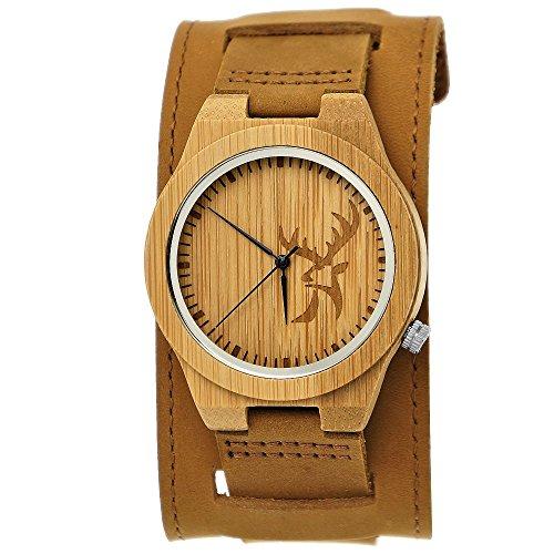 Handgefertigte Holzwerk Germany® Designer Hirsch Unisex Damen-Uhr Herren-Uhr Öko Natur Holz-Uhr Breites Leder Armband-Uhr Analog Klassisch Quarz-Uhr in Braun mit Hirschmotiv