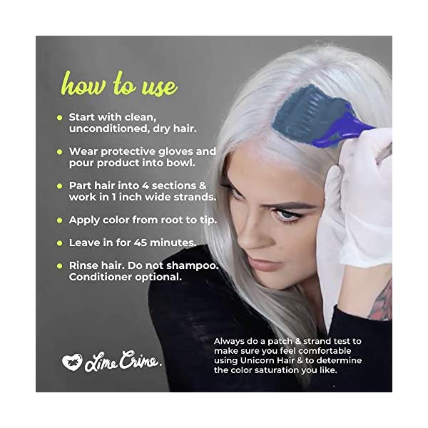 Lime Crime Unicorn Hair Dye, Blue Smoke - Navy Blue Fantasy Hair Color - Full Coverage, Ultra-Conditioning, Semi… 7