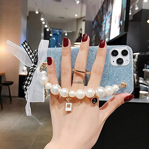 LIUYAWEI Estuche con Correa de Cadena de muñeca con Lazo de Perlas de Lujo para iPhone 11 12 Pro X XR XS MAX 7 8 Plus Funda con Soporte para Anillo para Samsung S8 S9,2, para iPhone 6 6S
