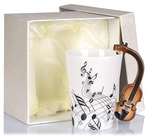 Grinscard Keramiktasse mit Motiv Henkel - Weiß & Bedruckt Violine Design ca. 0,2l - Tee & Kaffee Tasse zum Verschenken
