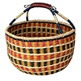 Cesta de mimbre Bolga tejida para pícnic, cesta vacía con asas, cesta de almacenamiento para frutas, regalos, juguetes, manualidades (naranja Navi)