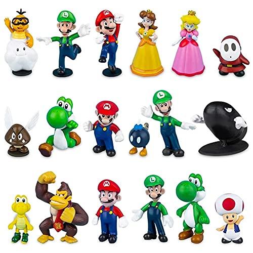 CYSJ Super Mario Cake Topper 18 pcs Super Mario Figuras Decoración para Tarta de cumpleaños de Animales de Dibujos Animados Decoración de La Torta del Fiesta Suministros