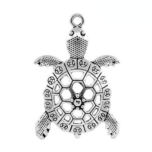 Wholesale Tibetan Turtle Charm Pendant Antique Silver 57mm 20 Packs of 1