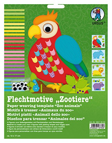Ursus 28210002F Flechtmotive Zootiere, inklusive Flechtstreifen und Wackelaugen, bunt