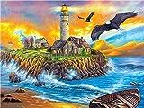 Pintura por números para adultos-Island Lighthouse DIY pintura al óleo lienzo Kit pintado a mano obra de arte regalo de vacaciones decoración del hogar 40x50cm