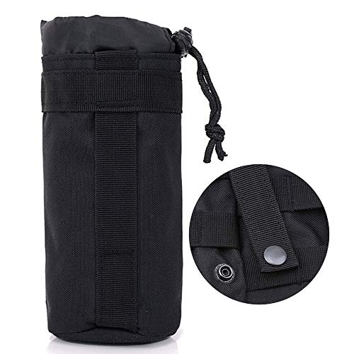 Ziyero Tactical Water Bottle Bag Molle Bolsa Botella Agua Portátil Tela Oxford Resistente al Desgaste, Impermeable sin Decoloración, con Cordón para el Trabajo, el Ocio y el Deporte Etc (Negro)