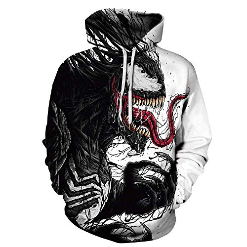 Unisex Mens The Marvel Comics Spiderman Venom Hoodies Fashion Active Pullover 3D Printed Hooded Sweatshirt Costume M