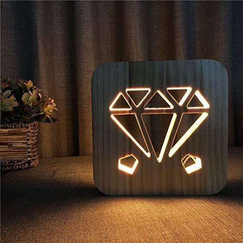 BHUIJN Skulpturen Massivholz Geschnitzte Diamantmuster Holztischlampe Kinderzimmer Nachtlicht