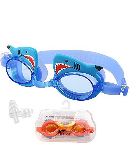 June Sports Cartoon Swimming Goggles for Kids, Youth Boys GirlsTriathlon Swim Goggles with Free Protection Case for Children Teens UV Protection Anti Fog No Leaking, Shark SG7