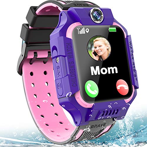 "Kids Smartwatch Phone IP67 Waterproof LBS Tracker for Boys Girls 4-12 Age Smart Watch with SOS Calling Alarm Clock Puzzle Games Camera Flashlight 1.5"" Touch Screen Children Birthday Gift"