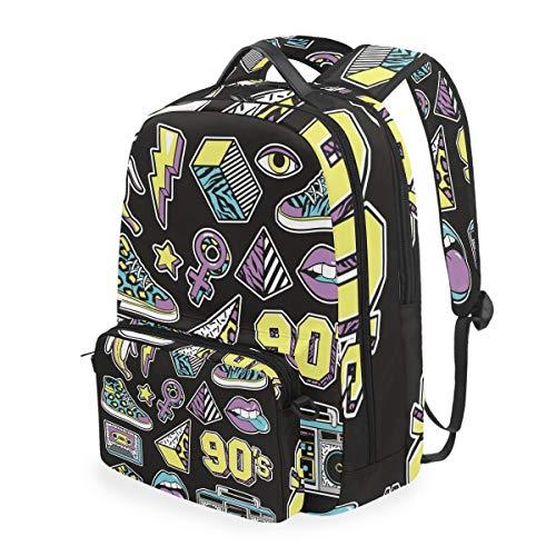 Schwarz Dinge Radio Kunst Studentenrucksack Kinderrucksack Büchertasche Schülerrucksack Laptop mit Umhängetasche für die Mädchen Jungs