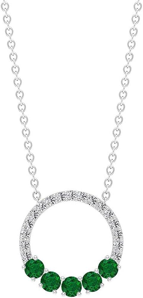 Open Circle Necklace OFFicial site Eternity Manufacturer OFFicial shop Pendant CT Round 1 2 Gemstones